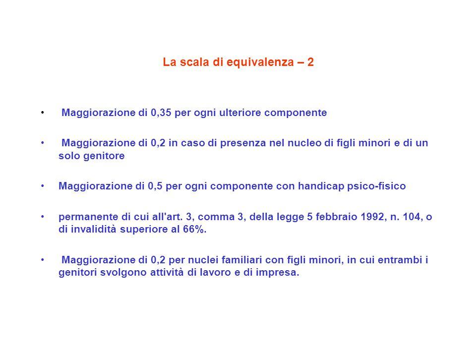 La scala di equivalenza – 2 Maggiorazione di 0,35 per ogni ulteriore componente Maggiorazione di 0,2 in caso di presenza nel nucleo di figli minori e