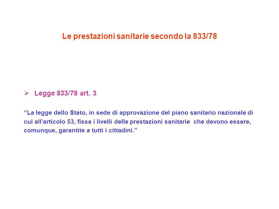 Le prestazioni sanitarie secondo la 833/78 Legge 833/78 art.
