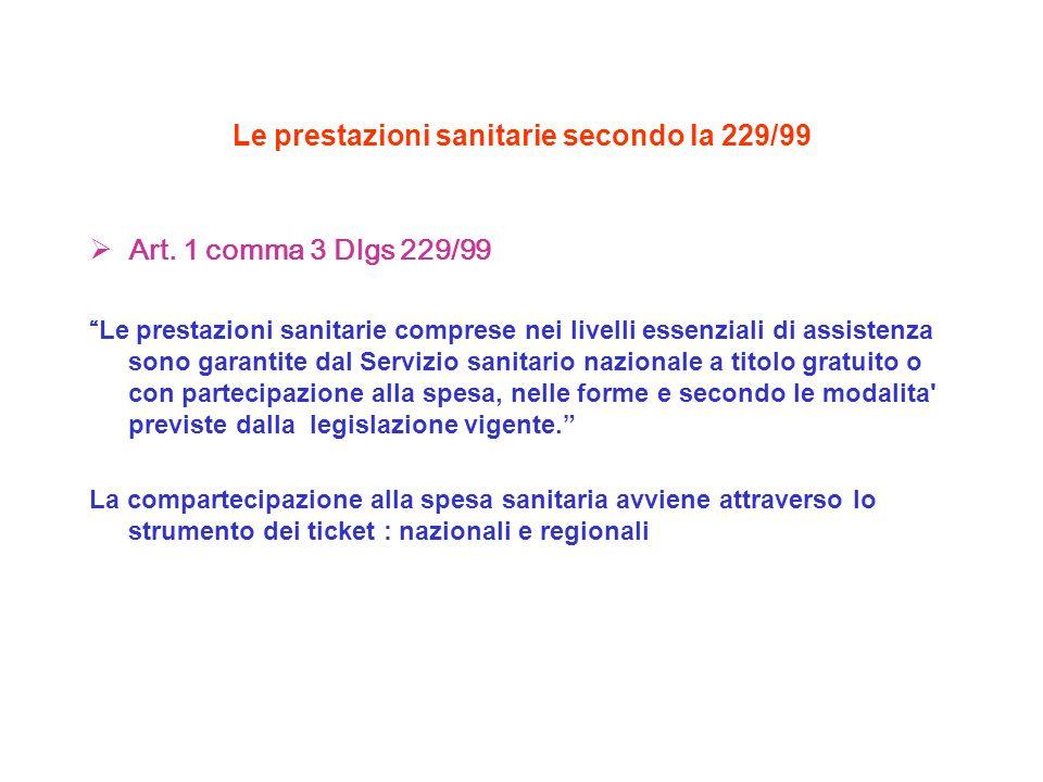 Le prestazioni sanitarie secondo la 229/99 Art. 1 comma 3 Dlgs 229/99 Le prestazioni sanitarie comprese nei livelli essenziali di assistenza sono gara