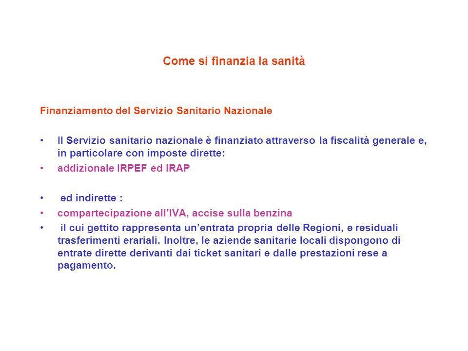 Come si finanzia la sanità Finanziamento del Servizio Sanitario Nazionale Il Servizio sanitario nazionale è finanziato attraverso la fiscalità general