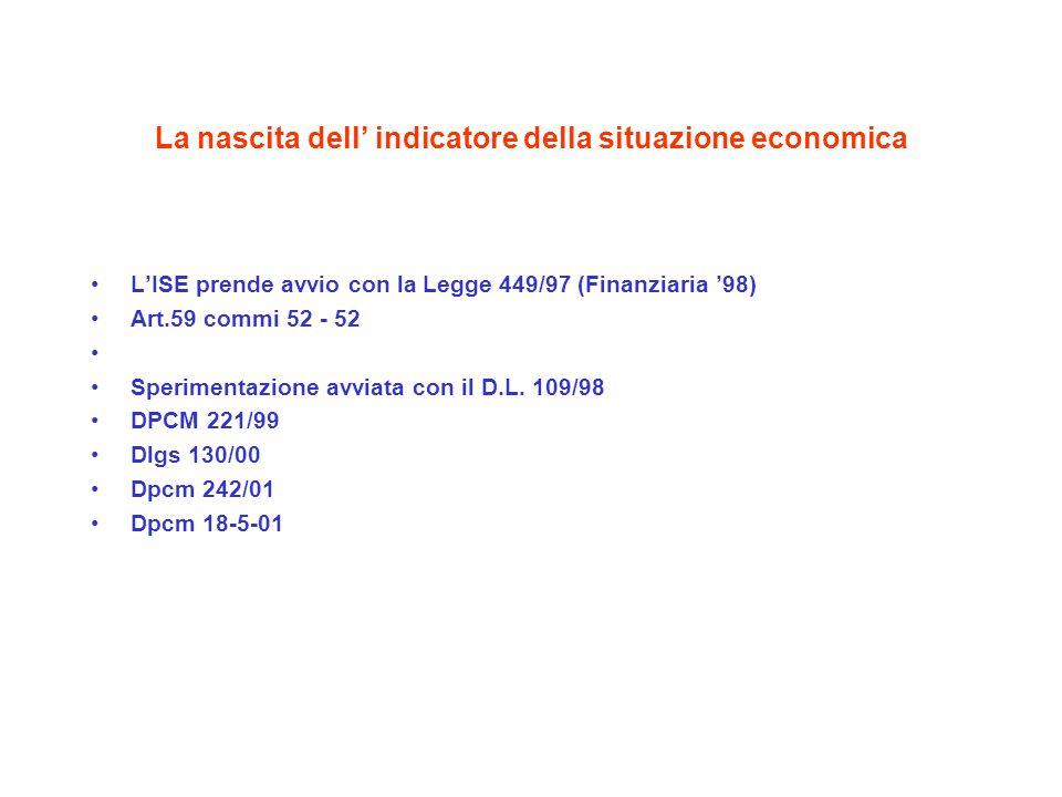 La nascita dell indicatore della situazione economica LISE prende avvio con la Legge 449/97 (Finanziaria 98) Art.59 commi 52 - 52 Sperimentazione avviata con il D.L.
