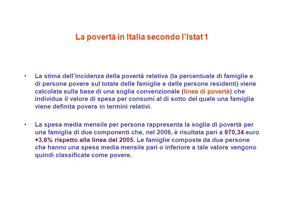 La povertà in Italia secondo lIstat 1 La stima dellincidenza della povertà relativa (la percentuale di famiglie e di persone povere sul totale delle famiglie e delle persone residenti) viene calcolata sulla base di una soglia convenzionale (linea di povertà) che individua il valore di spesa per consumi al di sotto del quale una famiglia viene definita povera in termini relativi.