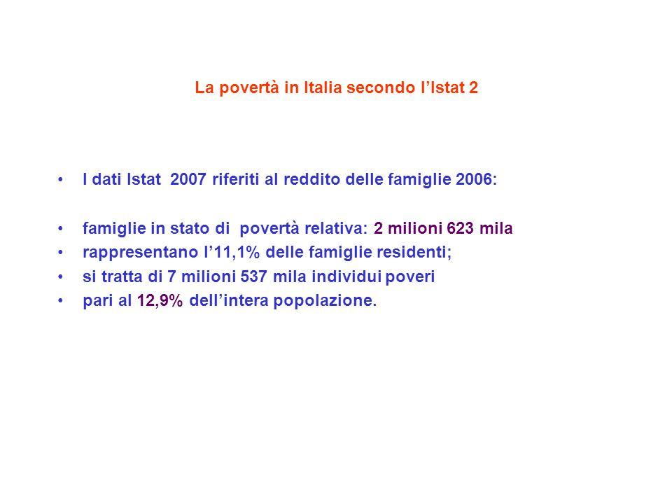 La povertà in Italia secondo lIstat 2 I dati Istat 2007 riferiti al reddito delle famiglie 2006: famiglie in stato di povertà relativa: 2 milioni 623 mila rappresentano l11,1% delle famiglie residenti; si tratta di 7 milioni 537 mila individui poveri pari al 12,9% dellintera popolazione.
