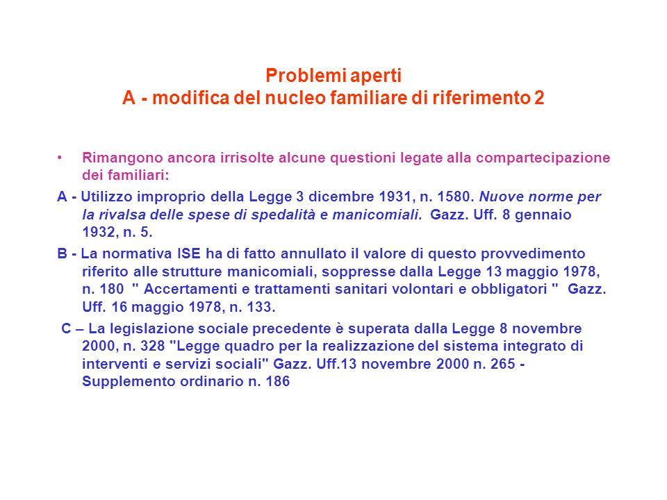 Problemi aperti A - modifica del nucleo familiare di riferimento 2 Rimangono ancora irrisolte alcune questioni legate alla compartecipazione dei familiari: A - Utilizzo improprio della Legge 3 dicembre 1931, n.