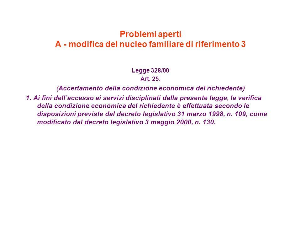 Problemi aperti A - modifica del nucleo familiare di riferimento 3 Legge 328/00 Art. 25. ( Accertamento della condizione economica del richiedente) 1.