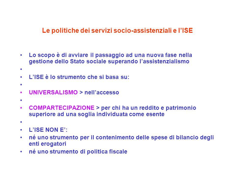 Le politiche dei servizi socio-assistenziali e lISE Lo scopo è di avviare il passaggio ad una nuova fase nella gestione dello Stato sociale superando