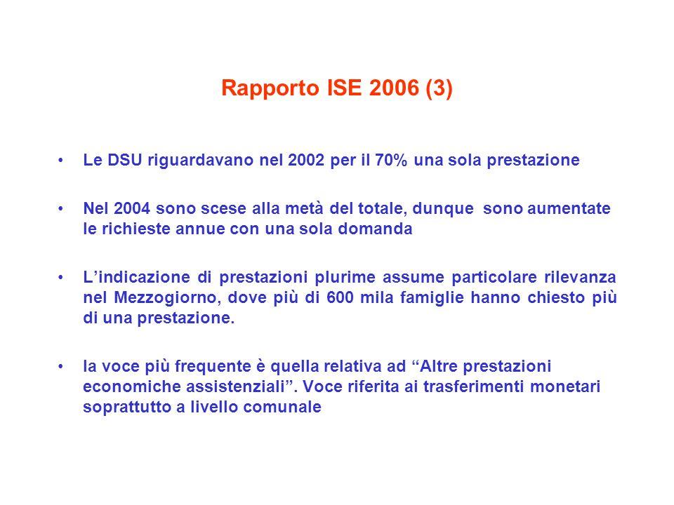 Rapporto ISE 2006 (3) Le DSU riguardavano nel 2002 per il 70% una sola prestazione Nel 2004 sono scese alla metà del totale, dunque sono aumentate le richieste annue con una sola domanda Lindicazione di prestazioni plurime assume particolare rilevanza nel Mezzogiorno, dove più di 600 mila famiglie hanno chiesto più di una prestazione.