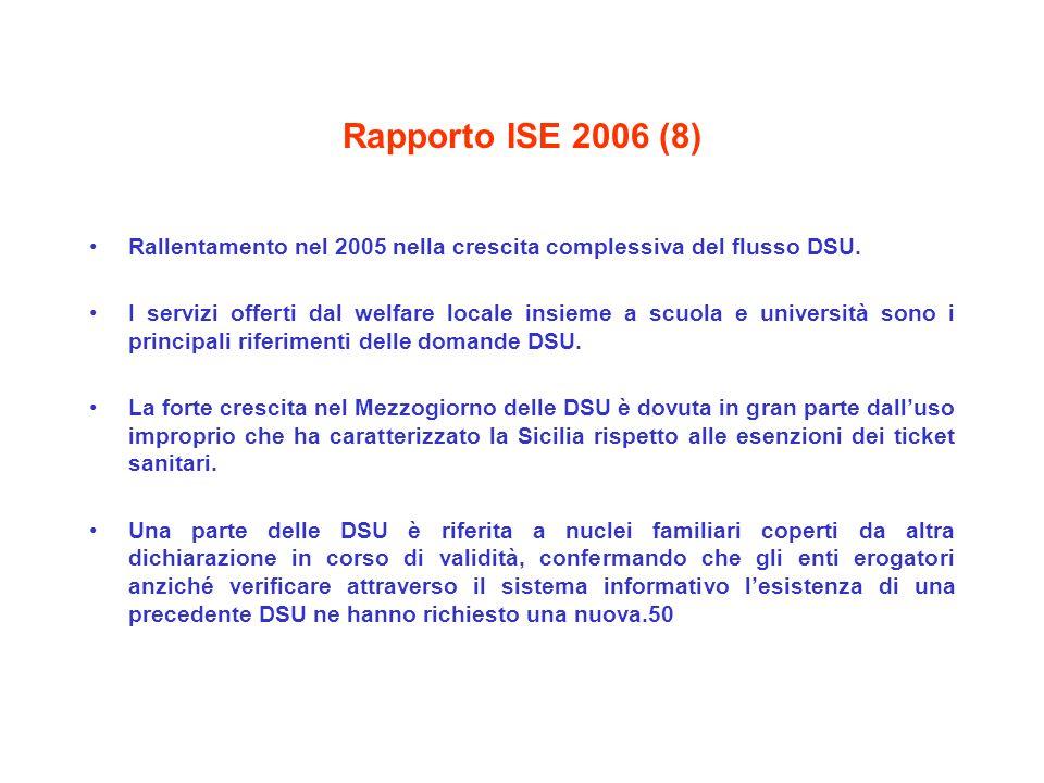 Rapporto ISE 2006 (8) Rallentamento nel 2005 nella crescita complessiva del flusso DSU. I servizi offerti dal welfare locale insieme a scuola e univer