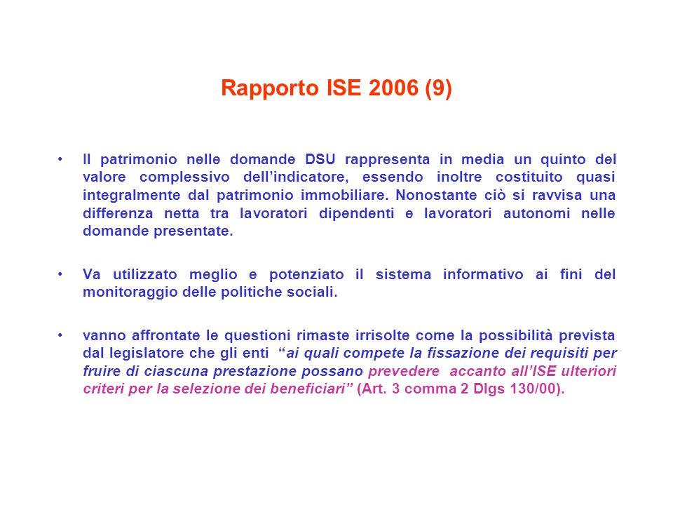 Rapporto ISE 2006 (9) Il patrimonio nelle domande DSU rappresenta in media un quinto del valore complessivo dellindicatore, essendo inoltre costituito