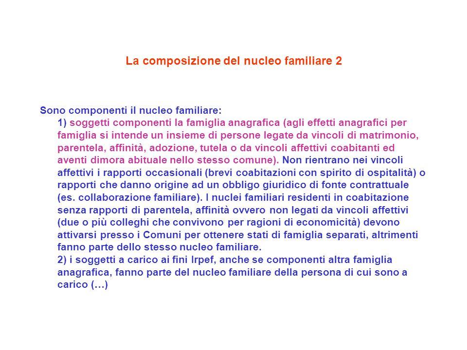 La composizione del nucleo familiare 2 Sono componenti il nucleo familiare: 1) soggetti componenti la famiglia anagrafica (agli effetti anagrafici per