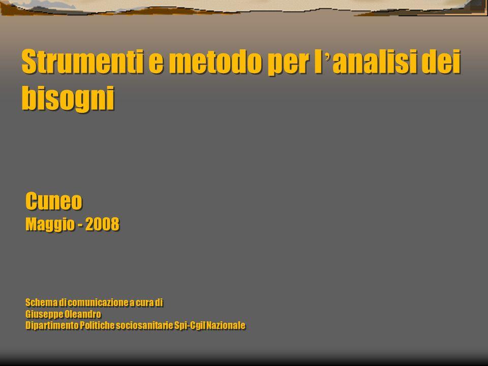 Strumenti e metodo per l analisi dei bisogni Cuneo Maggio - 2008 Schema di comunicazione a cura di Giuseppe Oleandro Dipartimento Politiche sociosanit