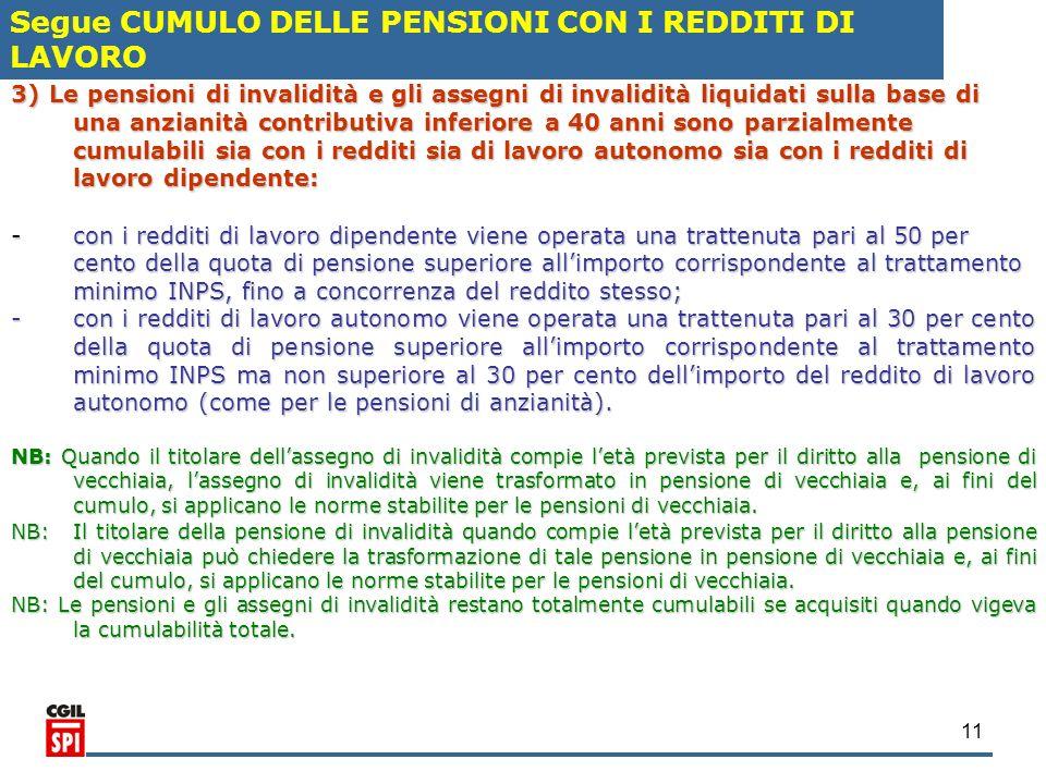 11 3) Le pensioni di invalidità e gli assegni di invalidità liquidati sulla base di una anzianità contributiva inferiore a 40 anni sono parzialmente c