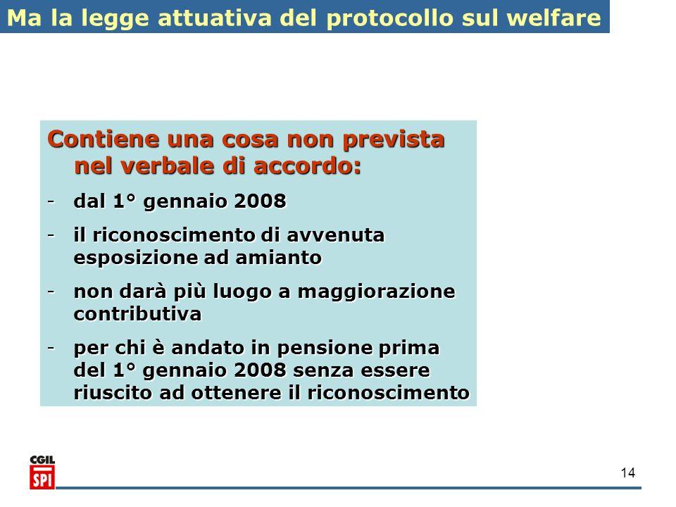 14 Ma la legge attuativa del protocollo sul welfare Contiene una cosa non prevista nel verbale di accordo: -dal 1° gennaio 2008 -il riconoscimento di