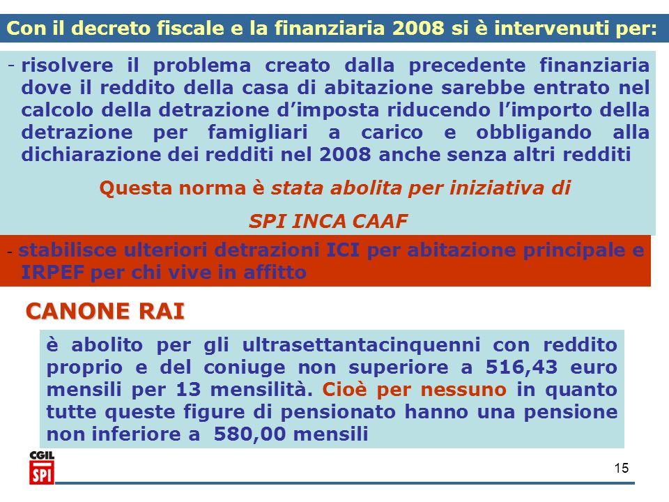 15 Con il decreto fiscale e la finanziaria 2008 si è intervenuti per: - -risolvere il problema creato dalla precedente finanziaria dove il reddito del