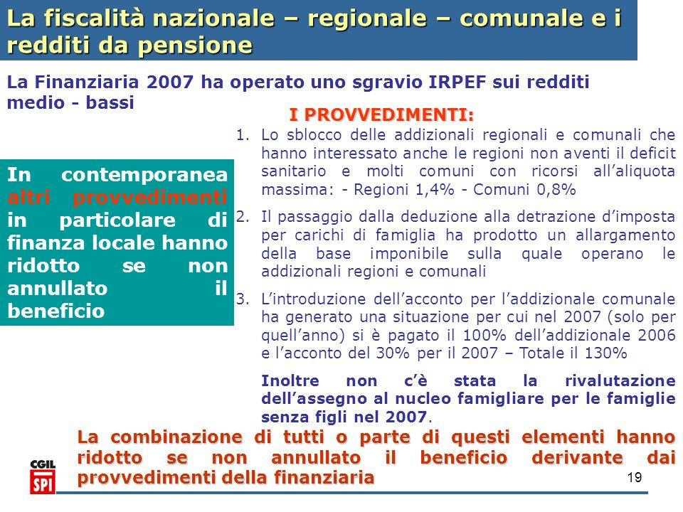 19 La Finanziaria 2007 ha operato uno sgravio IRPEF sui redditi medio - bassi In contemporanea altri provvedimenti in particolare di finanza locale ha