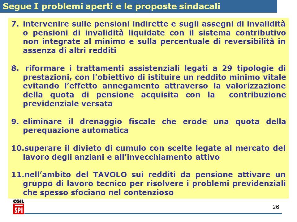 26 7. 7.intervenire sulle pensioni indirette e sugli assegni di invalidità o pensioni di invalidità liquidate con il sistema contributivo non integrat