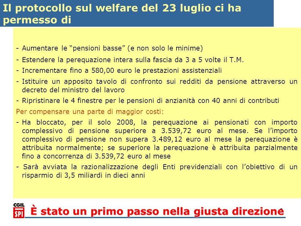 3 - Aumentare le pensioni basse (e non solo le minime) -Estendere la perequazione intera sulla fascia da 3 a 5 volte il T.M. -Incrementare fino a 580,
