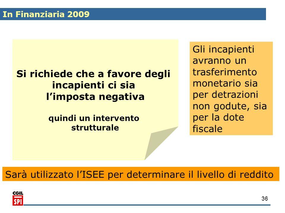 36 Si richiede che a favore degli incapienti ci sia limposta negativa quindi un intervento strutturale Gli incapienti avranno un trasferimento monetar