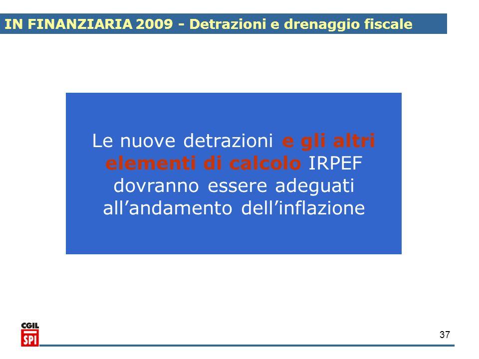 37 Le nuove detrazioni e gli altri elementi di calcolo IRPEF dovranno essere adeguati allandamento dellinflazione IN FINANZIARIA 2009 - Detrazioni e d