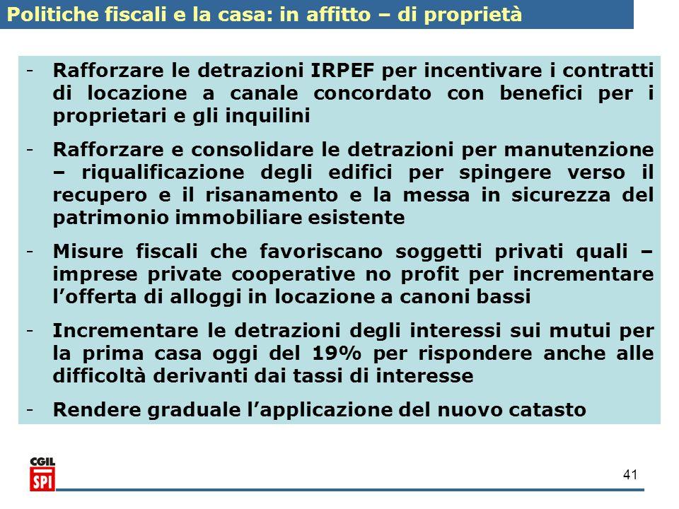 41 - -Rafforzare le detrazioni IRPEF per incentivare i contratti di locazione a canale concordato con benefici per i proprietari e gli inquilini - -Ra