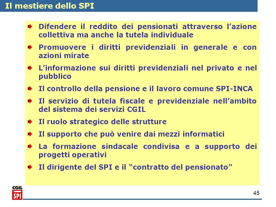 45 Il mestiere dello SPI Difendere il reddito dei pensionati attraverso lazione collettiva ma anche la tutela individuale Promuovere i diritti previde