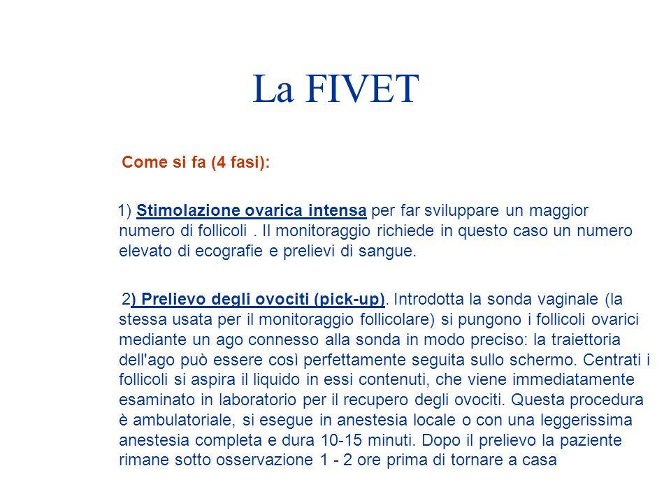 La FIVET Come si fa (4 fasi): 1) Stimolazione ovarica intensa per far sviluppare un maggior numero di follicoli.