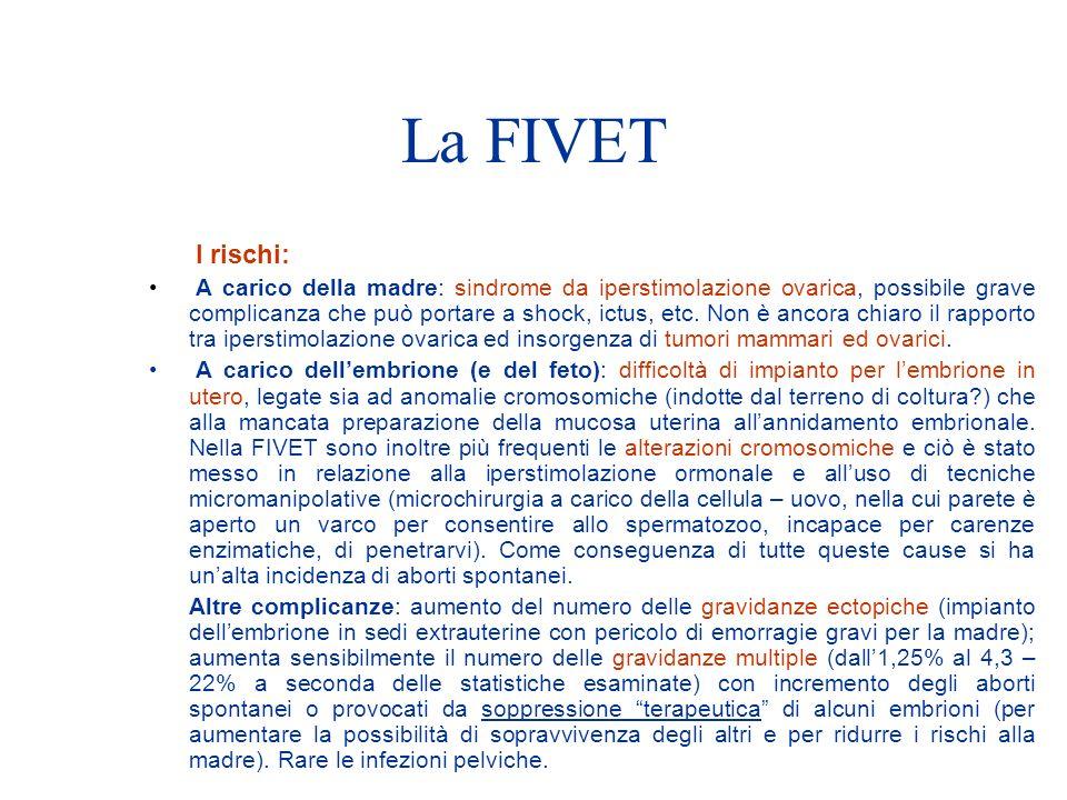 La FIVET I rischi: A carico della madre: sindrome da iperstimolazione ovarica, possibile grave complicanza che può portare a shock, ictus, etc.