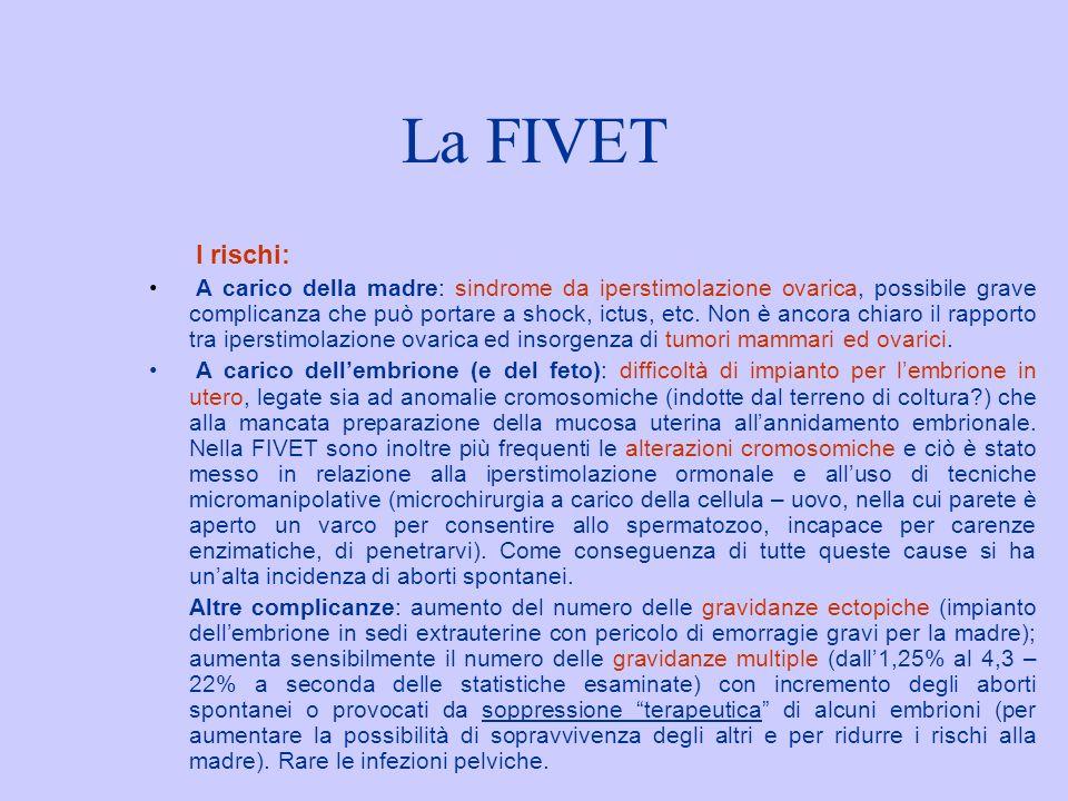 La FIVET I rischi: A carico della madre: sindrome da iperstimolazione ovarica, possibile grave complicanza che può portare a shock, ictus, etc. Non è