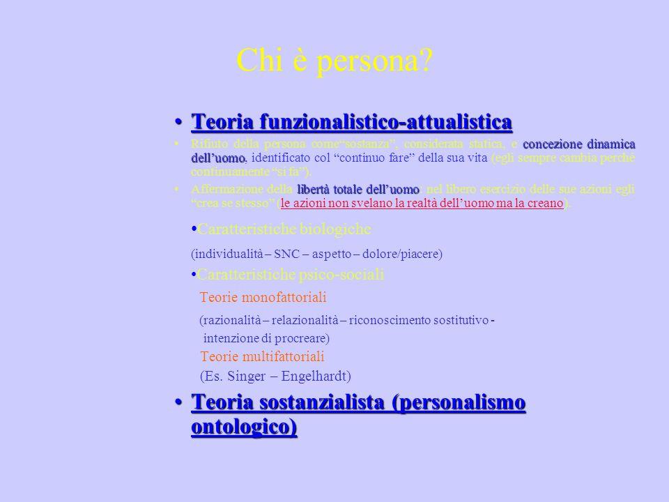 Chi è persona? Teoria funzionalistico-attualisticaTeoria funzionalistico-attualistica concezione dinamica delluomoRifiuto della persona comesostanza,