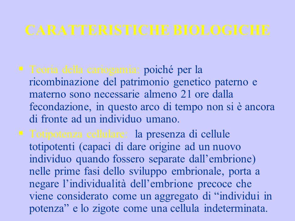 CARATTERISTICHE BIOLOGICHE Teoria della cariogamia: poiché per la ricombinazione del patrimonio genetico paterno e materno sono necessarie almeno 21 o