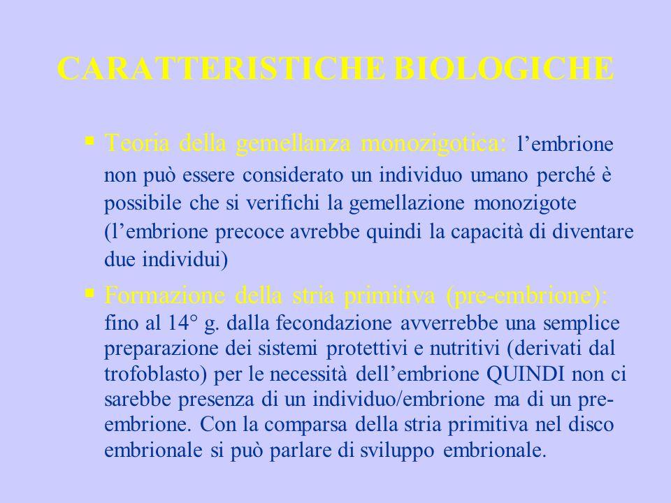 CARATTERISTICHE BIOLOGICHE Teoria della gemellanza monozigotica: lembrione non può essere considerato un individuo umano perché è possibile che si ver