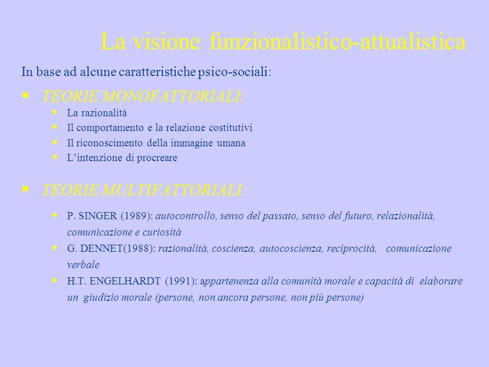 La visione funzionalistico-attualistica In base ad alcune caratteristiche psico-sociali: TEORIE MONOFATTORIALI: La razionalità Il comportamento e la r