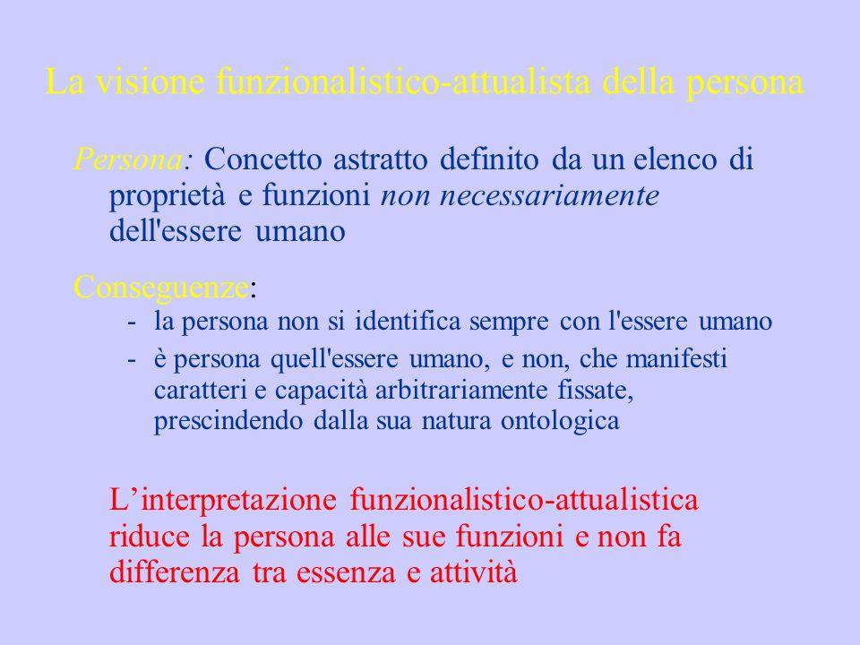 La visione funzionalistico-attualista della persona Persona: Concetto astratto definito da un elenco di proprietà e funzioni non necessariamente dell'