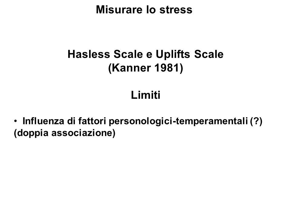 Misurare lo stress Hasless Scale e Uplifts Scale (Kanner 1981) Limiti Influenza di fattori personologici-temperamentali (?) (doppia associazione)