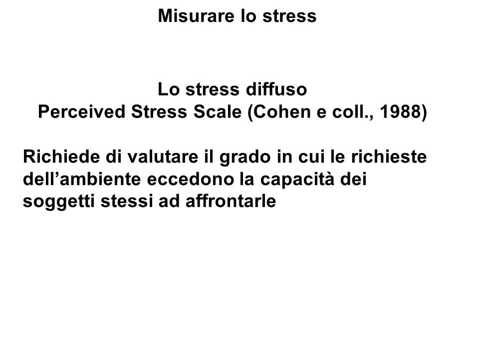 Misurare lo stress Lo stress diffuso Perceived Stress Scale (Cohen e coll., 1988) Richiede di valutare il grado in cui le richieste dellambiente ecced