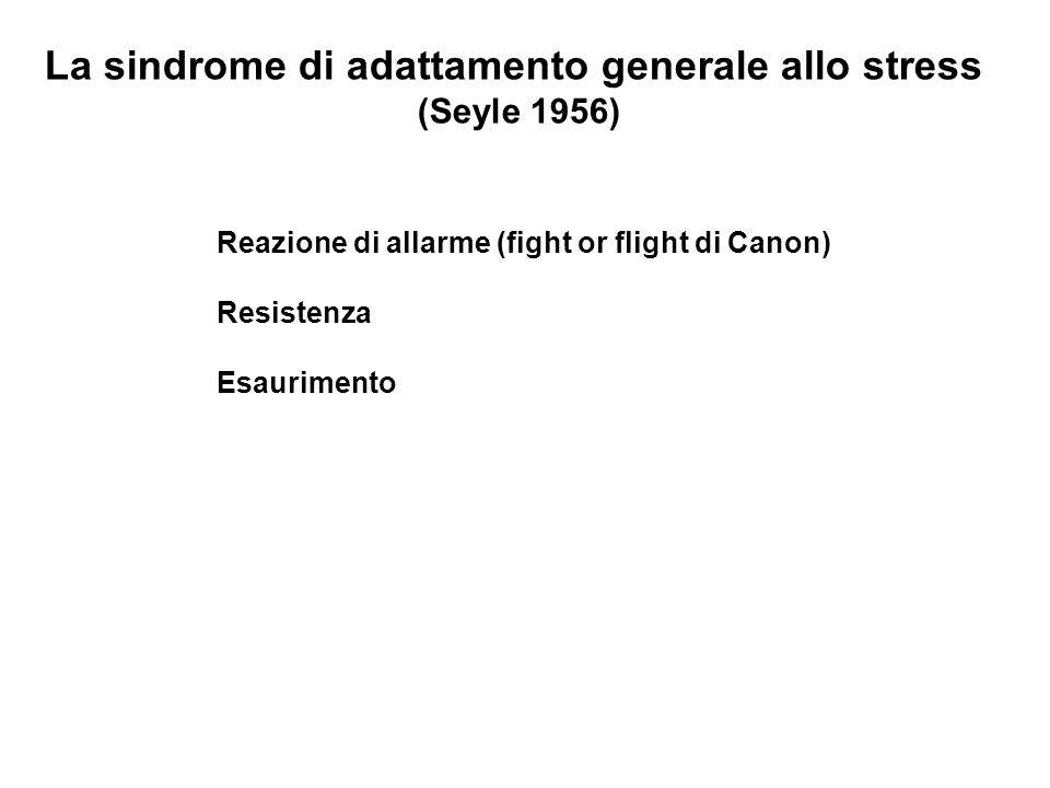 La sindrome di adattamento generale allo stress (Seyle 1956) Reazione di allarme (fight or flight di Canon) Resistenza Esaurimento