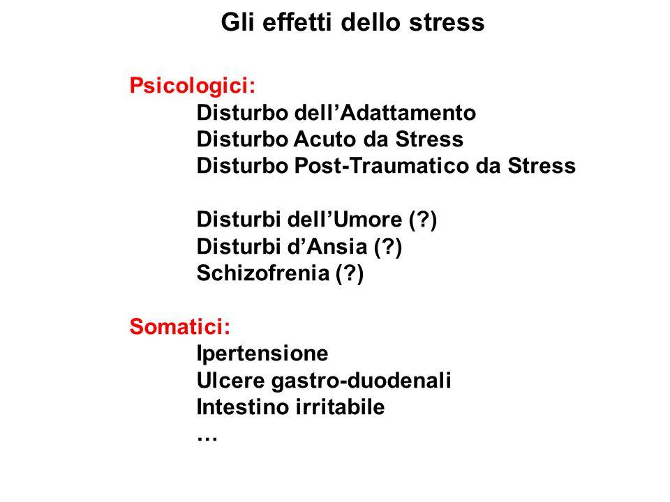 Gli effetti dello stress Psicologici: Disturbo dellAdattamento Disturbo Acuto da Stress Disturbo Post-Traumatico da Stress Disturbi dellUmore (?) Dist