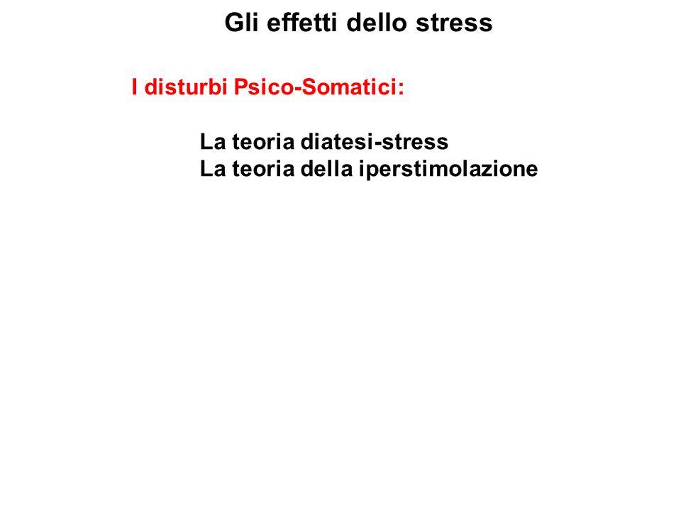 Gli effetti dello stress I disturbi Psico-Somatici: La teoria diatesi-stress La teoria della iperstimolazione