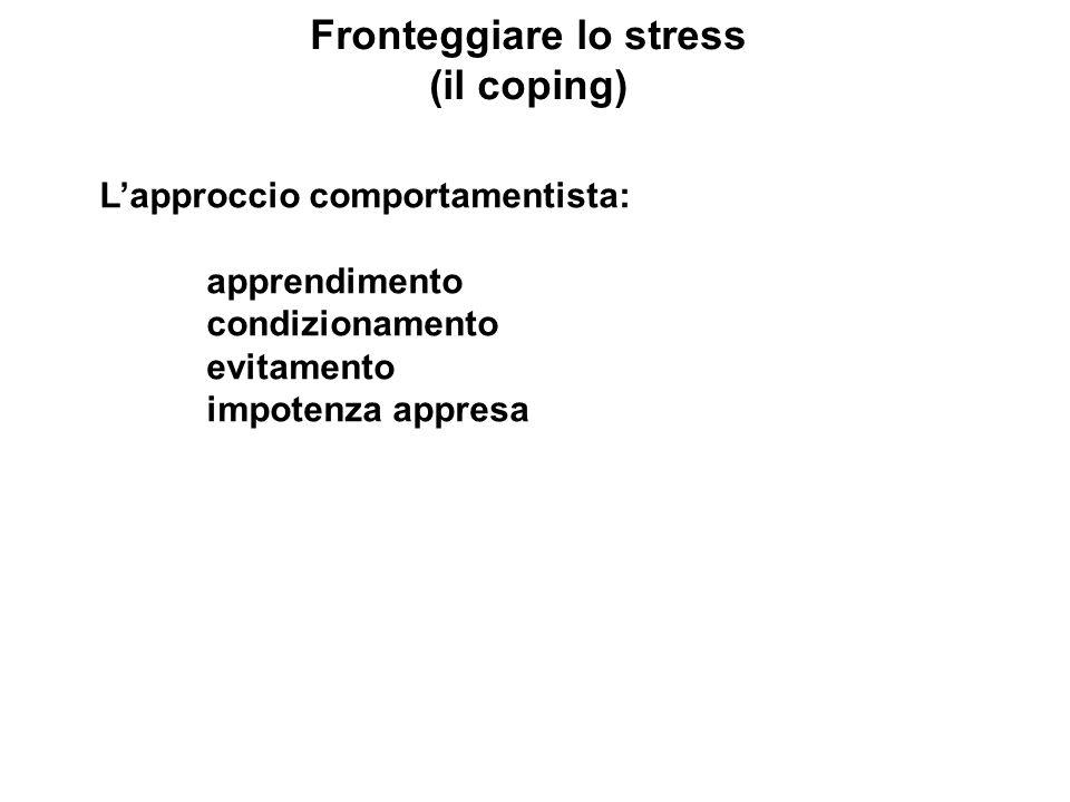 Fronteggiare lo stress (il coping) Lapproccio comportamentista: apprendimento condizionamento evitamento impotenza appresa