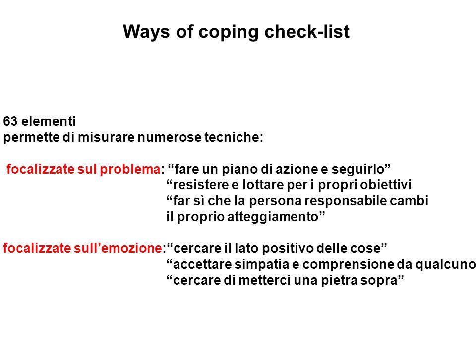 Ways of coping check-list 63 elementi permette di misurare numerose tecniche: focalizzate sul problema: fare un piano di azione e seguirlo resistere e