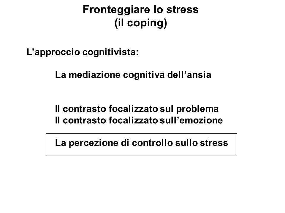 Fronteggiare lo stress (il coping) Lapproccio cognitivista: La mediazione cognitiva dellansia Il contrasto focalizzato sul problema Il contrasto focal