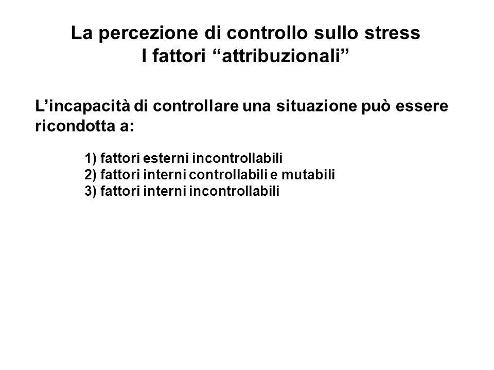 La percezione di controllo sullo stress I fattori attribuzionali Lincapacità di controllare una situazione può essere ricondotta a: 1) fattori esterni