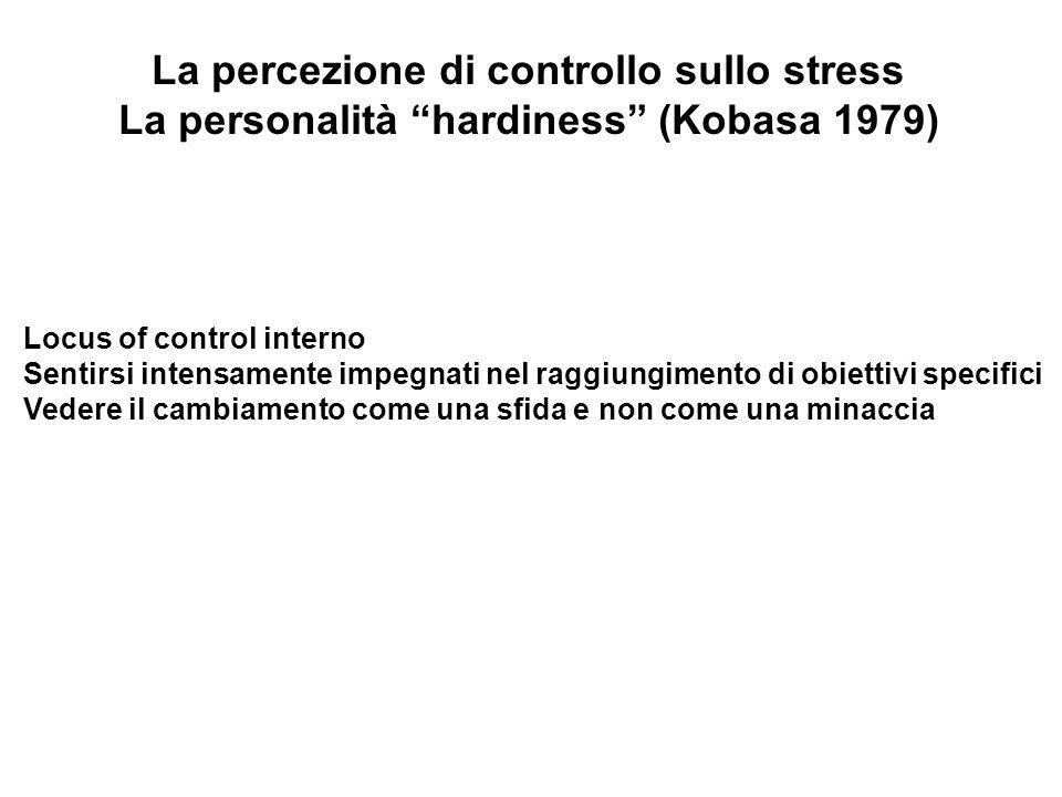 La percezione di controllo sullo stress La personalità hardiness (Kobasa 1979) Locus of control interno Sentirsi intensamente impegnati nel raggiungim
