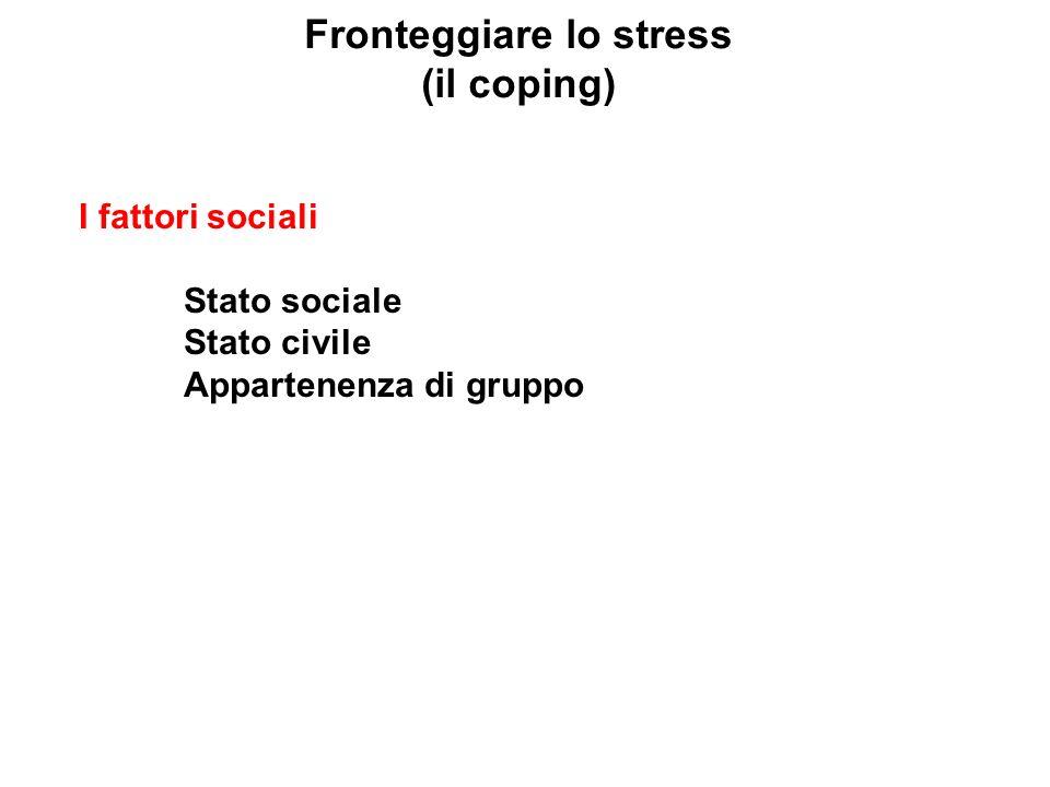 Fronteggiare lo stress (il coping) I fattori sociali Stato sociale Stato civile Appartenenza di gruppo