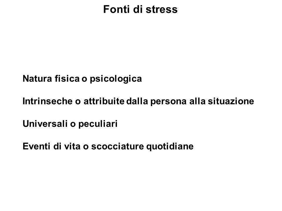Fonti di stress Natura fisica o psicologica Intrinseche o attribuite dalla persona alla situazione Universali o peculiari Eventi di vita o scocciature