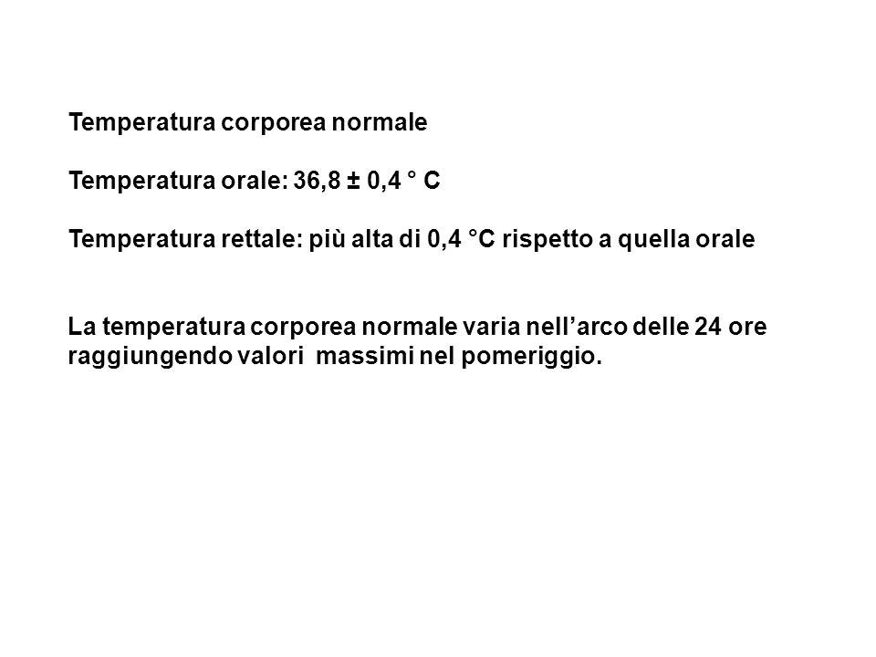 Temperatura corporea normale Temperatura orale: 36,8 ± 0,4 ° C Temperatura rettale: più alta di 0,4 °C rispetto a quella orale La temperatura corporea