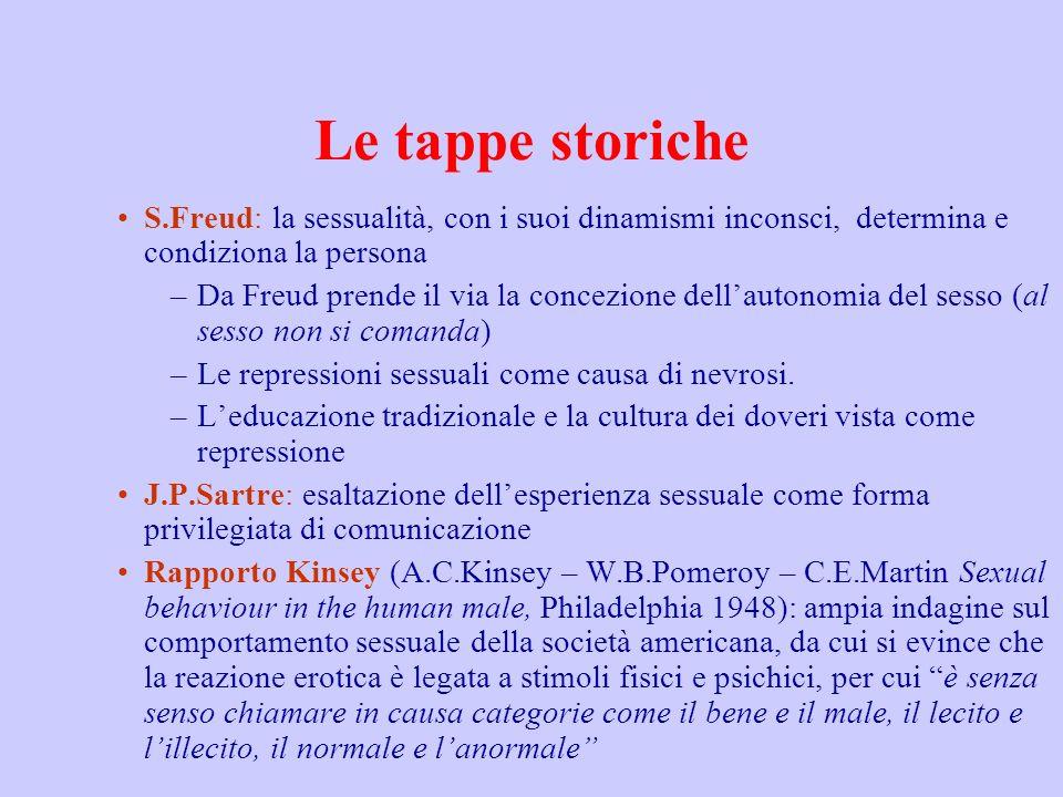 Le tappe storiche S.Freud: la sessualità, con i suoi dinamismi inconsci, determina e condiziona la persona –Da Freud prende il via la concezione della