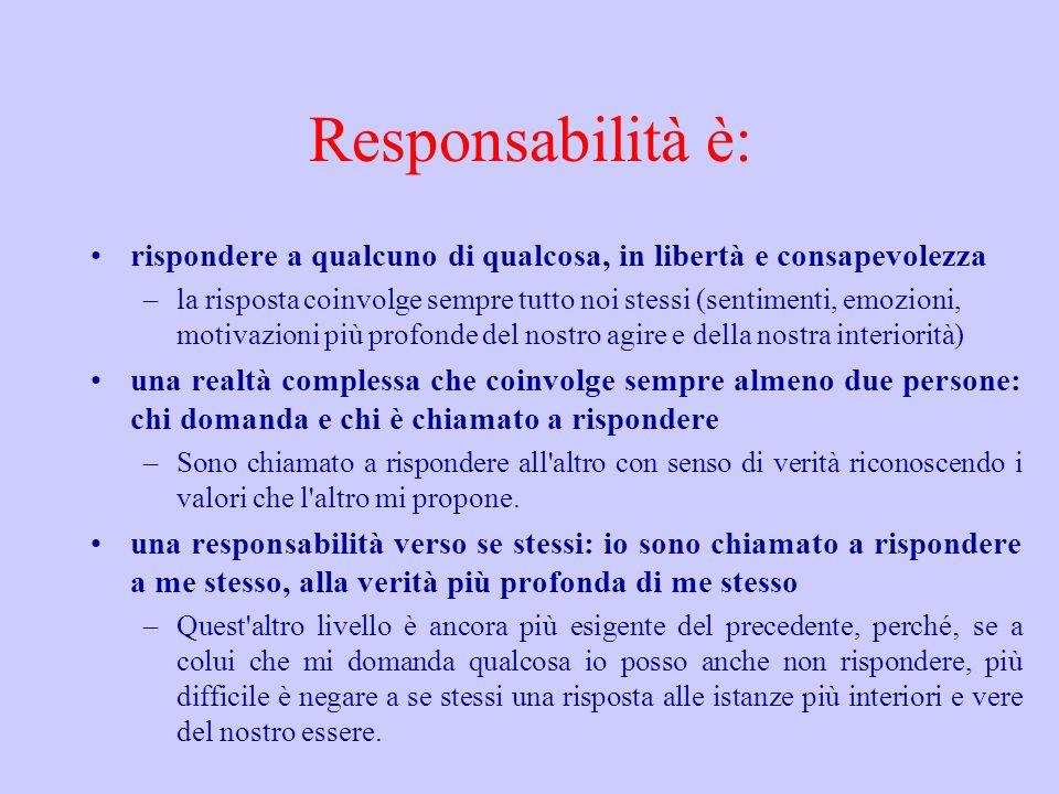 Responsabilità è: rispondere a qualcuno di qualcosa, in libertà e consapevolezza –la risposta coinvolge sempre tutto noi stessi (sentimenti, emozioni,