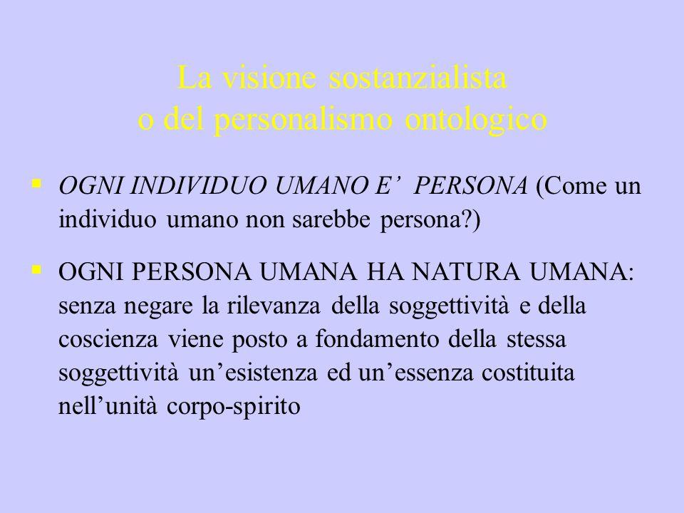 La visione sostanzialista o del personalismo ontologico OGNI INDIVIDUO UMANO E PERSONA (Come un individuo umano non sarebbe persona?) OGNI PERSONA UMA