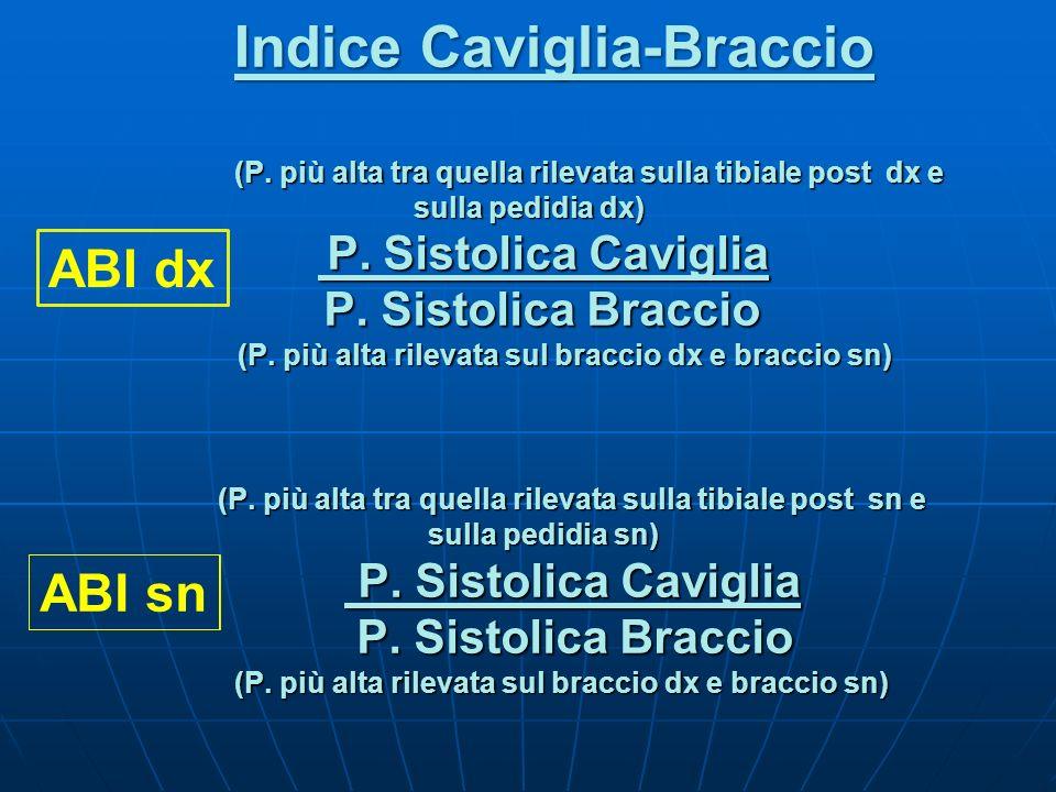 Indice Caviglia-Braccio (P. più alta tra quella rilevata sulla tibiale post dx e (P. più alta tra quella rilevata sulla tibiale post dx e sulla pedidi